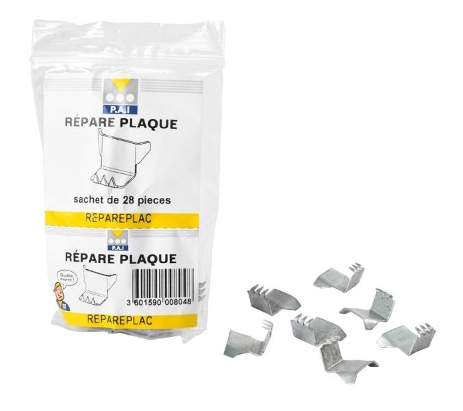 Photo 1 Cale de réparation pour plaque de plâtre en acier galvanisé d'épaisseur 0,75 mm. Jeu de cales pour reboucher les découpes de toutes épaisseurs et de toutes natures de plaques de plâtre posées en plafond ou en mur. - PAI