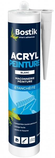 Photo 1 Mastic acrylique destiné aux calfeutrements divers et reprise de fissures avant peinture. - Bostik