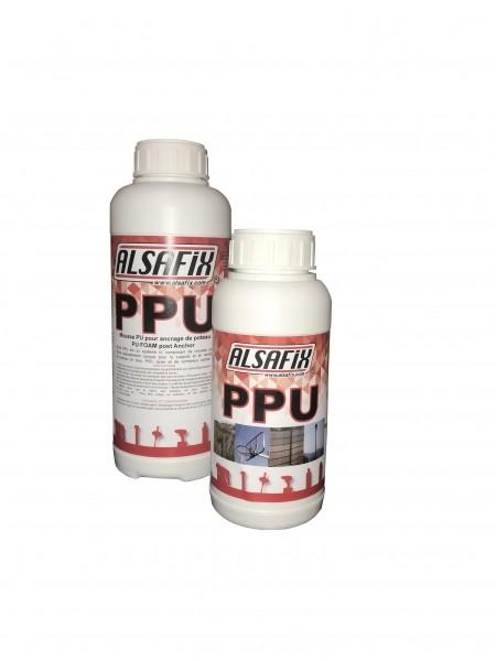 Photo 3 ALSA PPU est  kit de mousse polyuréthane bi-composants servant à l'ancrage de poteaux dans le sol. Il se présente en 2 flacons qu'il suffit de mélanger et verser dans le trou préalablement creusé. En quelques minutes,  le mélange s'expanse et durcit.  Très résistant et très facile à utiliser, ALSA PPU vous libère de toutes les contraintes liées à la préparation de béton pour la fixation de vos poteaux.  1 kit est prévu pour la fixation d'un poteau. - ALSAFIX