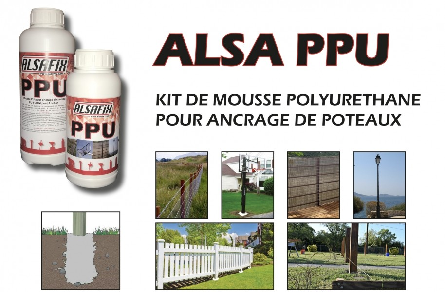 Photo 1 ALSA PPU est  kit de mousse polyuréthane bi-composants servant à l'ancrage de poteaux dans le sol. Il se présente en 2 flacons qu'il suffit de mélanger et verser dans le trou préalablement creusé. En quelques minutes,  le mélange s'expanse et durcit.  Très résistant et très facile à utiliser, ALSA PPU vous libère de toutes les contraintes liées à la préparation de béton pour la fixation de vos poteaux.  1 kit est prévu pour la fixation d'un poteau. - ALSAFIX
