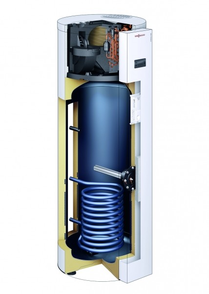 Photo 2 Conçu et produit dans son usine de Faulquemont en Moselle, c'est le premier ballon thermodynamique de conception 100% française.  Le ballon thermodynamique est une solution avantageuse, pour la préparation de l'eau chaude sanitaire. Il utilise une pompe à chaleur qui prélève les calories contenues dans l'air pour les transformer en chaleur vers l'eau chaude stockée dans le ballon sanitaire. Il assure 70% d'économies sur votre facture l'électricité par rapport à un chauffe-eau électrique. - Viessmann France