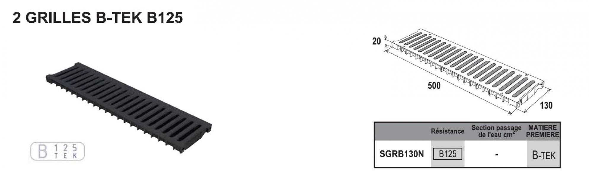 Photo 3 Caniveau PP Noir largeur 130mm hauteur 100mm Longueur 1000mm. Avec grilles en B-TEK B125 composite (Résistance 12,5T) Avec blocages intégrés en métal des grilles. Haute résistance - FIRSTPLAST