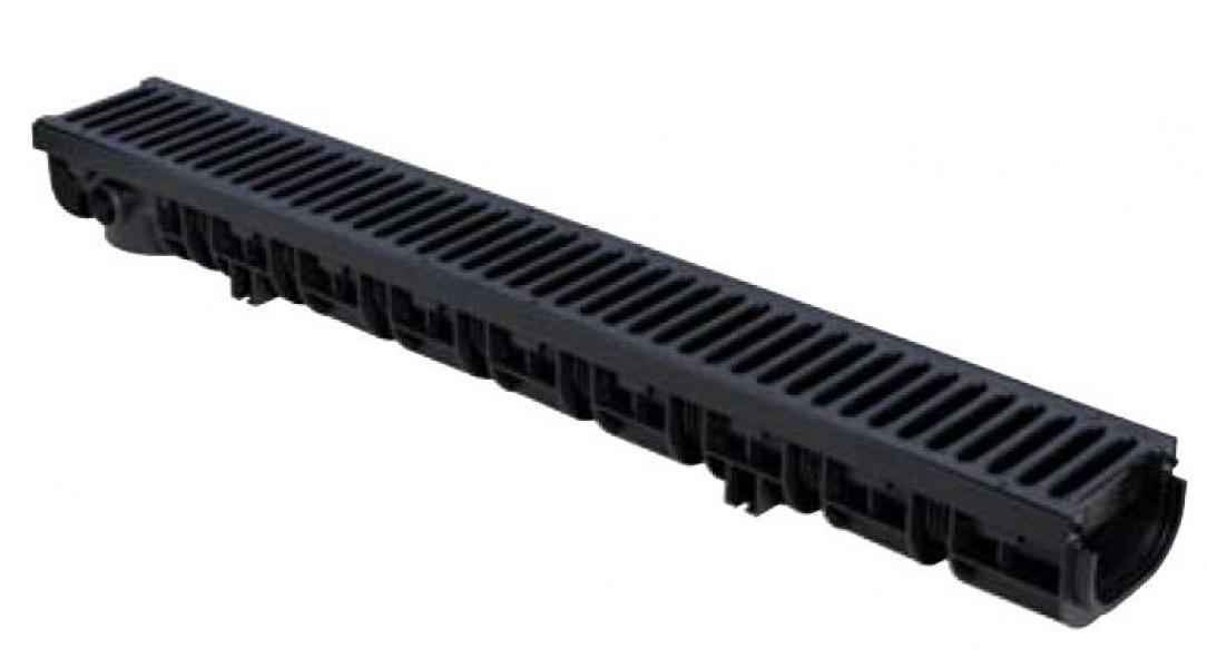 Photo 1 Caniveau PP Noir largeur 130mm hauteur 100mm Longueur 1000mm. Avec grilles en B-TEK B125 composite (Résistance 12,5T) Avec blocages intégrés en métal des grilles. Haute résistance - FIRSTPLAST