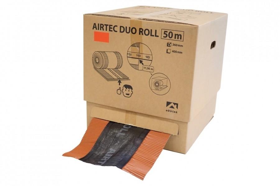 Photo 2 50 mètres de closoir de faîtage AIRTEC dans un carton dérouleur. Certifié QB35 Pas de perte. La longueur restante est indiquée sur le mètre ruban collé au dos du closoir. Simple à stocker. Surface de ventilation : 202 cm²/m.  Le closoir comporte deux bandes adhésives de type butyle. L'application sur tuile propre et sèche est impérative pour garantir son efficacité. Différentes largeurs (240, 310, 360, 400 mm) et coloris (anthracite, brun, ocre, rouge). Existe en version AIRTEC ALU ROLL. - UBBINK FRANCE