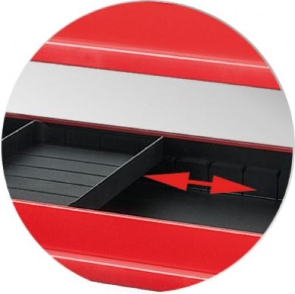 Photo 3 Notre chariot escamotable ToolBox  est doté d'un châssis en tôle et d'une construction robuste en acier rigide.  Il propose de très nombreux rangements. - KSTOOLS