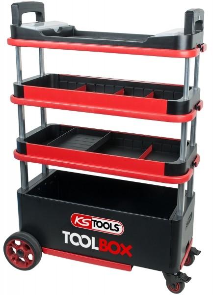 Photo 1 Notre chariot escamotable ToolBox  est doté d'un châssis en tôle et d'une construction robuste en acier rigide.  Il propose de très nombreux rangements. - KSTOOLS