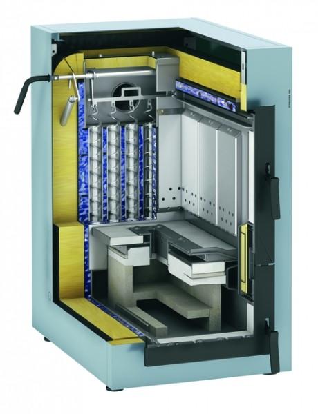 Photo 3 La Vitoligno 150-S est une chaudière compacte à gazéification pour bûches de bois, d'un prix particulièrement attrayant, adaptable à un fonctionnement monovalent ou à un fonctionnement bivalent (complément à une installation de chauffage au fioul ou au gaz).  La régulation Ecotronic 100 séduit par sa commande facile et intuitive. Sur son écran rétro-éclairé, toutes les informations sont représentées par symboles. L'écran affiche aussi l'état de chargement du réservoir tampon d'eau chaude. - Viessmann France