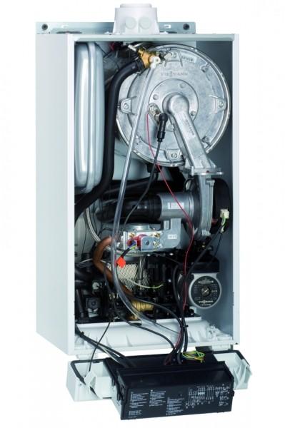 Photo 2 La chaudière murale gaz à condensation Vitodens 100-W possède un rapport puissance/prix exemplaire, elle est disponible en version chauffage seul ou avec production d'eau chaude sanitaire à micro-accumulation. Elle dispose également de commandes à distance permettant de piloter sa chaudière partout à tout moment. L'échangeur Inox-Radial et le brûleur modulant cylindrique en acier inoxydable sont conçus et fabriqués par Viessmann  EtaS entre 93 et 94% - Viessmann France