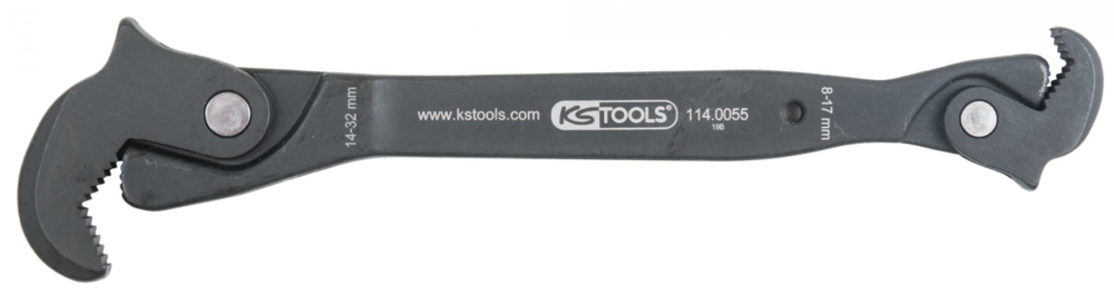 Photo 1 KS Tools innove une nouvelle fois avec cette clé multi-fonction à cliquet (référence 114.0055) qui s'adapte à tous types d'écrous : de 8 à 32 mm, 4 pans, 6 pans, 12 pans, XZN®, TORX®.  Son articulation auto-serrante permet d'assurer une fonction de cliquet ainsi qu'une prise ajustée à la forme de tête de vis.  Enfin, elle dispose d'une accroche performante grâce à ses mâchoires dentées. - KSTOOLS