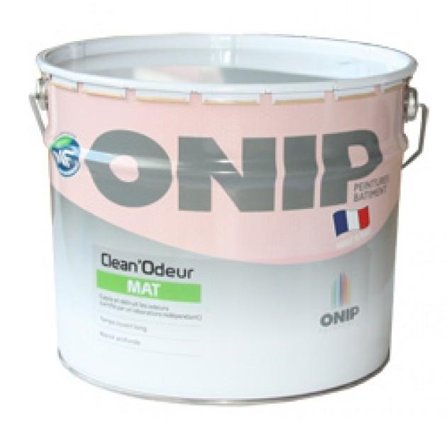 Photo 1 CLEAN'ODEUR Mat est une peinture de finition pour la protection et la décoration des murs et plafonds bénéficiant de la technologie Clean'Odeur qui capte et détruit les odeurs désagréables (odeurs corporelles, de cuisine, d'humidité ou de tabac). Pour travaux neufs et rénovation de finition soignée (type A) et de finition courante (type B). - ONIP