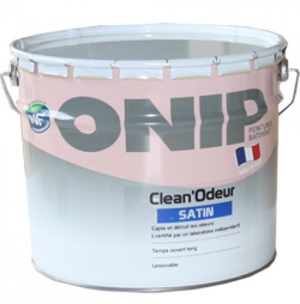 Photo 1 CLEAN'ODEUR Satin est une peinture de finition pour la protection et la décoration des murs et plafonds bénéficiant de la technologie Clean'Odeur qui capte et détruit les odeurs désagréables (odeurs corporelles, de cuisine, d'humidité ou de tabac). Pour travaux neufs et rénovation de finition soignée (type A) et de finition courante (type B). - ONIP