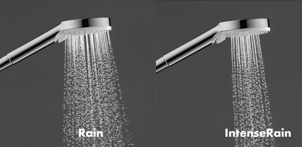 Photo 3 - jet Rain, IntenseRain - changement de jet en tournant extrémité douchette - écrou tournant côté douchette évitant la torsion du flexible - Angle inclinaison du curseur 90°, pivote de gauche à droite et de haut en bas - 14l/min sous 3 bars - HANSGROHE