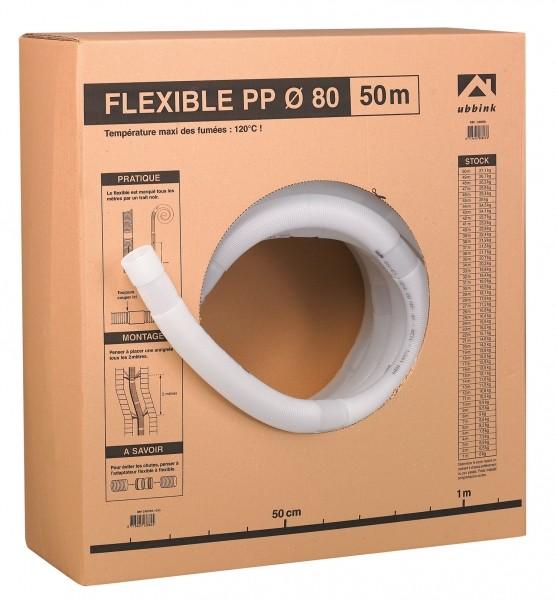 Photo 1 Facilement stockable, le carton maintient le flexible une fois entamé. Une graduation sur le carton permet de mesurer la quantité de flexible nécessaire pour le montage. Pratique, un tableau permet d'aider à la gestion du stock. Le conduit est en PPTL, un matériau ultra résistant aux chutes, aux chocs, aux condensats et aux frottements dans le boisseau. - UBBINK FRANCE