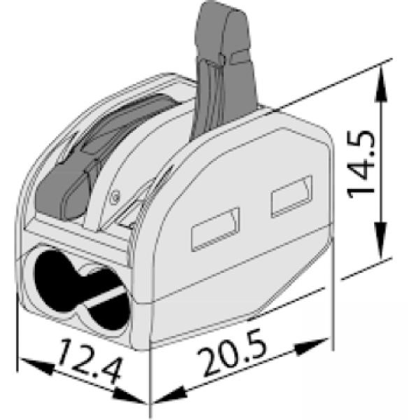 Photo 1 Connecteur rapide 2 fils pour câble souple. IP20, 400V 32A. Utilisation de -10°C à +55°C. Boite de 80. - INOVPROJECT