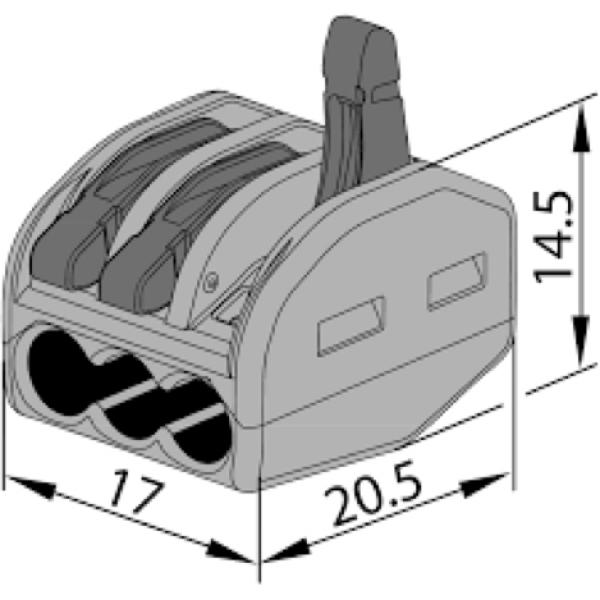 Photo 1 Connecteur rapide 3 fils pour câble souple. IP20, 400V 32A. Utilisation de -10°C à +55°C. Boite de 60. - INOVPROJECT