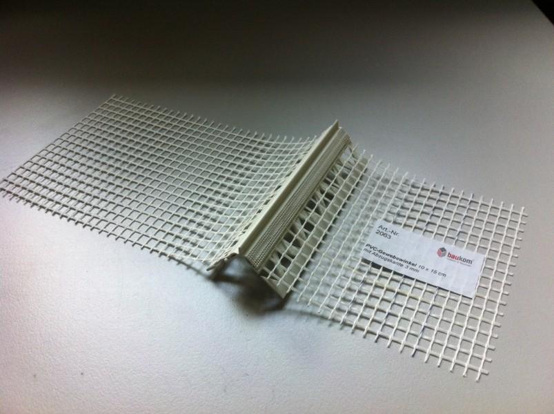 Photo 1 Cornière entoilée avec repère d'épaisseur d'enduit de 3 mm pour le renfort des angles et des fenêtres ou portes. Le repère d'épaisseur permet une application uniforme de l'enduit. 25 pièces / carton - Baukom