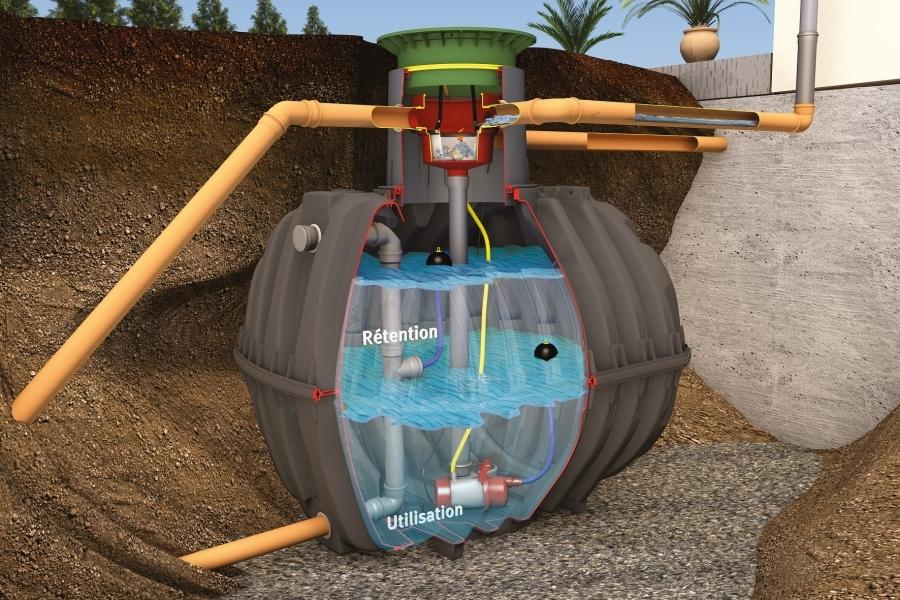 Photo 2 La cuve de rétention Carat permet de retenir l'eau de pluie et de la renvoyer dans les réseaux en maîtrisant son débit.  Le débit peut être régulé de 0,05 à 4,0 L/s, selon les besoins.   En version Rétention Plus, la cuve permet de conserver un volume d'eau pluviale pour une utilisation personnelle jardin et habitat.  Disponible de 2700 à 6500 L. Garantie 30 ans. - GRAF
