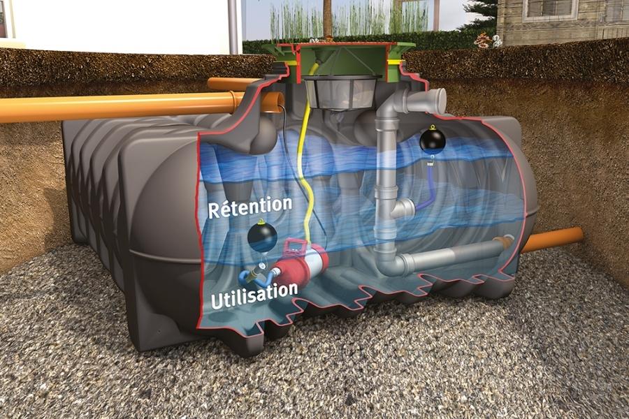 Photo 2 La cuve de rétention Platine permet de retenir l'eau de pluie et de la renvoyer dans les réseaux en maîtrisant son débit.  Le débit peut être régulé de 0,05 à 4,0 L/s, selon les besoins.   En version Rétention Plus, la cuve permet de conserver un volume d'eau pluviale pour une utilisation personnelle jardin et habitat.  Disponible de 1500 à 7500 L. Garantie 30 ans. - GRAF
