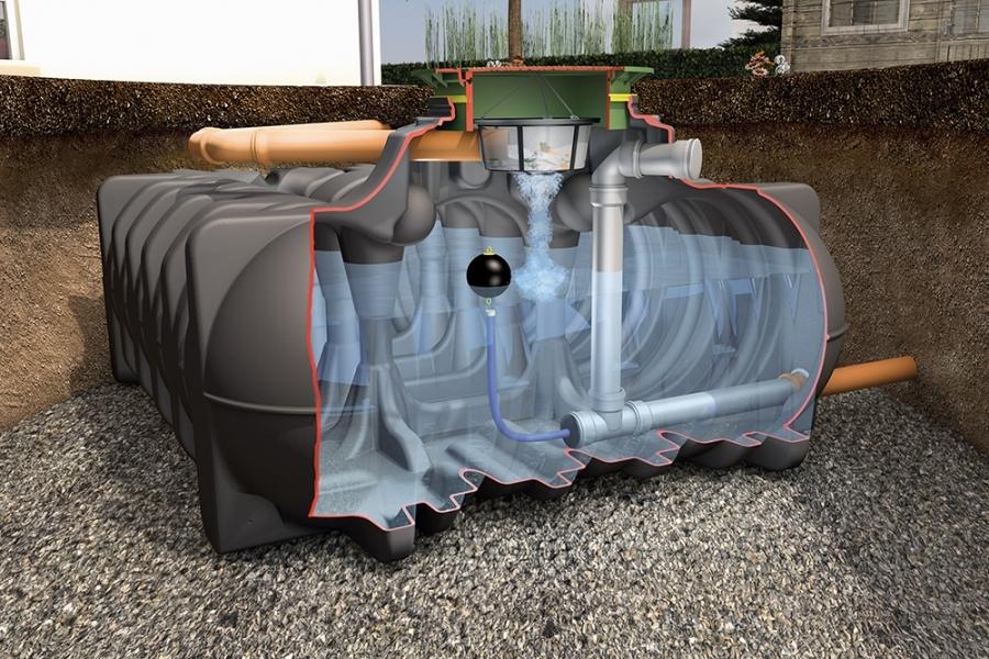 Photo 1 La cuve de rétention Platine permet de retenir l'eau de pluie et de la renvoyer dans les réseaux en maîtrisant son débit.  Le débit peut être régulé de 0,05 à 4,0 L/s, selon les besoins.   En version Rétention Plus, la cuve permet de conserver un volume d'eau pluviale pour une utilisation personnelle jardin et habitat.  Disponible de 1500 à 7500 L. Garantie 30 ans. - GRAF
