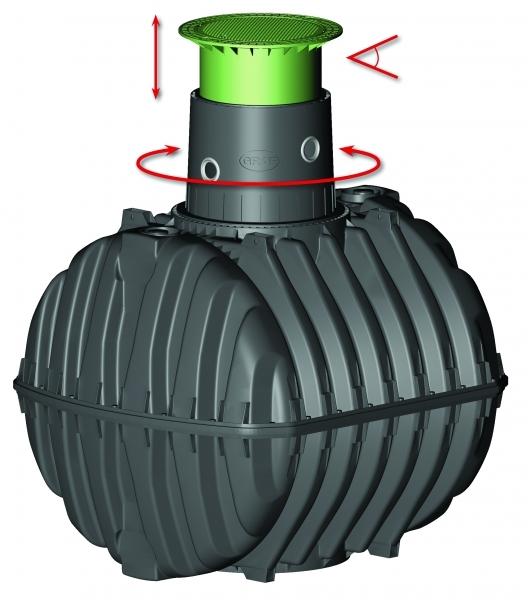 Photo 4 Spécialement conçue pour la récupération des eaux pluviales. La cuve à enterrer Carat est disponible de 2700 à 6500 L.  Elle est étudiée dans le moindre détail pour une installation et une utilisation aisées. Le dôme pivotant à 360° facilite son raccordement. Elle peut être équipée d'un filtre intégré qui garantit une excellente qualité de l'eau récupérée. Les rehausses télescopiques permettent un ajustement au millimètre avec la surface du terrain. Garantie 30 ans. - GRAF