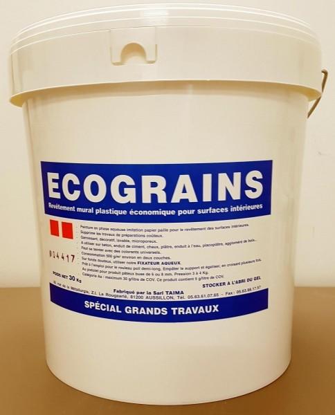 Photo 1 Ecograins est un revêtement acrylique mat imitation papier paille. Il est constitué de fines particules de bois qui en font un produit décoratif masquant les petits défauts. Il est utilisé dans des logements de type HLM en alternative de la gouttelette. - TAIMA PEINTURE