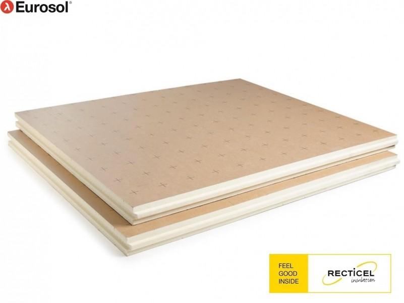 Photo 4 Les panneaux Eurosol® sont composés de mousse de polyuréthane, revêtus sur chaque face d'un parement étanche composite en polyuréthane (PIR), kraft et aluminium. Une face reçoit un marquage au pas de 10 cm. Outre sa forte capacité d'isolation, cette structure offre une grande résistance aux contraintes mécaniques et procure aux panneaux Eurosol® une longévité exceptionnelle. Lambda = 0,022 W/m.K. Epaisseurs disponibles (mm) : 20–30- 40-44–50–53–58–66–70–77–82–90–103–110-120 - RECTICEL