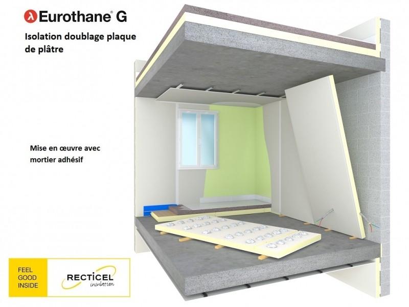 Photo 2 L'Eurothane G est un complexe de doublage 2-en-1 composé d'une plaque de plâtre et d'un panneau d'isolation thermique en mousse rigide de polyuréthane (PIR), revêtue sur chaque face d'un parement composite aluminium et kraft. Lambda = 0,022 W/m.K. Epaisseurs disponible : 41+13 / 62+13 / 82+13 / 103+13 / 123+13. Eurothane G existe également avec des plaques de plâtre hydrofuge. (nous consulter). - RECTICEL