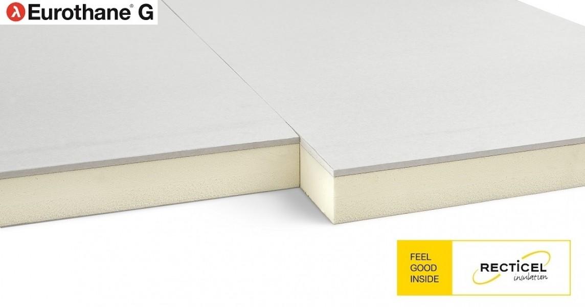 Photo 4 L'Eurothane G est un complexe de doublage 2-en-1 composé d'une plaque de plâtre et d'un panneau d'isolation thermique en mousse rigide de polyuréthane (PIR), revêtue sur chaque face d'un parement composite aluminium et kraft. Lambda = 0,022 W/m.K. Epaisseurs disponible : 41+13 / 62+13 / 82+13 / 103+13 / 123+13. Eurothane G existe également avec des plaques de plâtre hydrofuge. (nous consulter). - RECTICEL