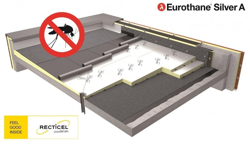 Photo 1 Eurothane® Silver A est un panneau d'isolation thermique avec une forme de pente intégrée, compatible avec les systèmes d'étanchéité sous protection lourde ou apparente. Il est conçu pour la réfection de tous types de toitures-terrasses sur élément porteur béton ou bois. La pente favorise l'évacuation de l'eau et évite ainsi les risques sanitaires, les mauvaises odeurs et la prolifération des moustiques. - RECTICEL