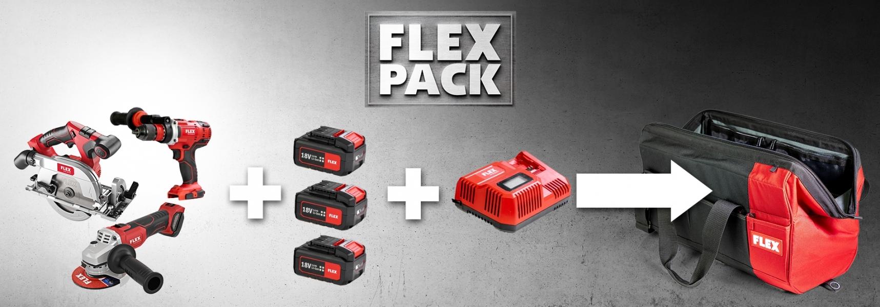 Photo 1 Faites votre choix : sélectionnez 3 outils de notre impressionnante gamme de machines sans fil FLEX et profitez d'économies fantastiques ! FLEX PACK = 3 outils + 1 set batteries/chargeur + 1 sac - FLEX FEMA SAS