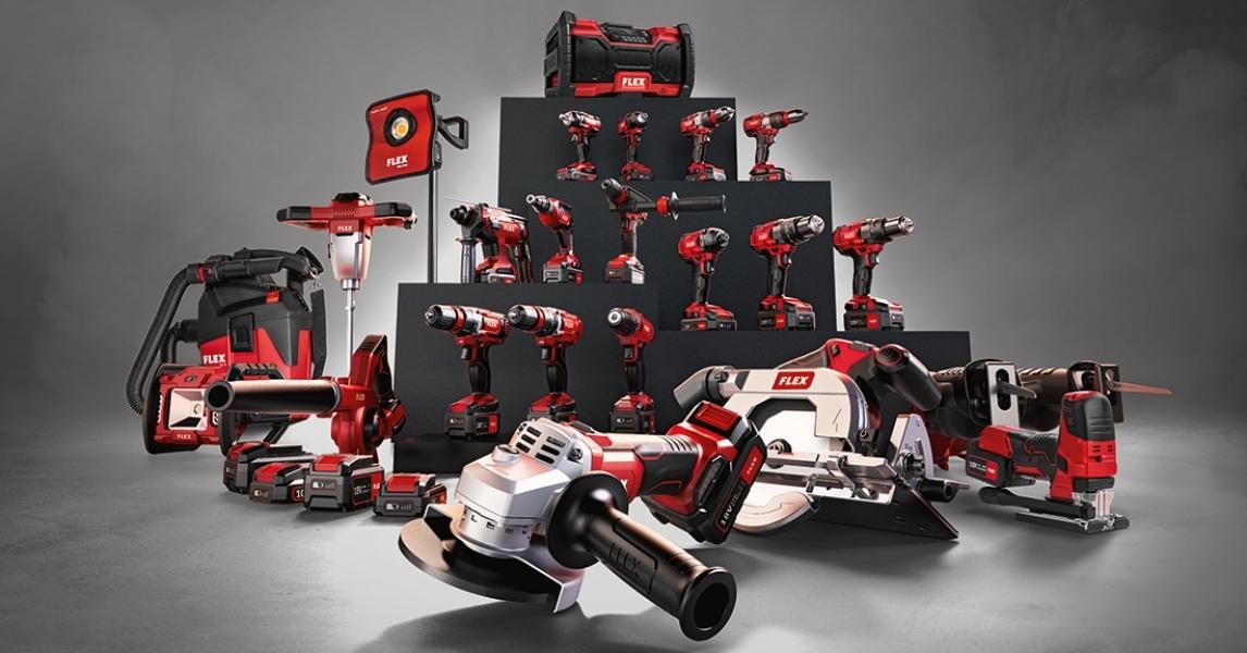 Photo 3 Faites votre choix : sélectionnez 3 outils de notre impressionnante gamme de machines sans fil FLEX et profitez d'économies fantastiques ! FLEX PACK = 3 outils + 1 set batteries/chargeur + 1 sac - FLEX FEMA SAS