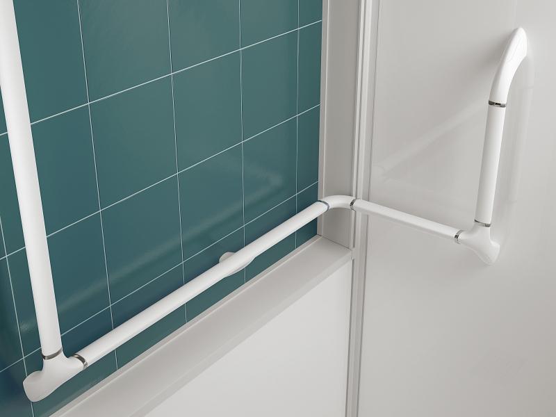 Photo 2 KINEDO, propose une solution complète adaptée à chaque projet : version haute, mixte ou basse (panneaux de fond en verre extra-blanc opaque)  Espace ouvert, à porte coulissante ou à portes pivotantes  Receveur de 3,8 cm pour un accès sans effort Revêtement antidérapant PN24 1 barre de maintien ergonomique couplée à 1 main courante  pour un accès à la douche facilité et confortable Siège rabattable avec assise large  2 finitions de verre (8mm) : transparent ou avec bande centrale dépolie - KINEDO