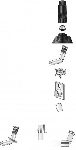 Photo 2 La configuration Rénolux permet de réutiliser un ancien conduit de fumée ou de ventilation pour l'implantation d'un conduit de chaudière étanche. Le kit 2en1 Renolux, permet de réaliser une installation entrée murale ou une installation entrée plafond grâce à un système ingénieux en bas de colonne. - UBBINK FRANCE