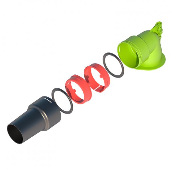Photo 3 Pour le raccordement de bouche d'extraction ø80 lors d'une installation de VMC Simple-Flux hygroréglable ou autoréglable, Ubbink a développé un kit de raccordement universel. Ce kit té 90° est compatible avec la gamme AIR EXCELLENT ainsi que les gaines souples du marché. - UBBINK FRANCE