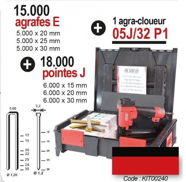 Photo 1 Kit composé d'un agra-cloueur pneumatique 05J/32 P1, de 15.000 agrafes E et  18.000 pointes J. Le tout livré dans un coffret BoxOnBox - ALSAFIX
