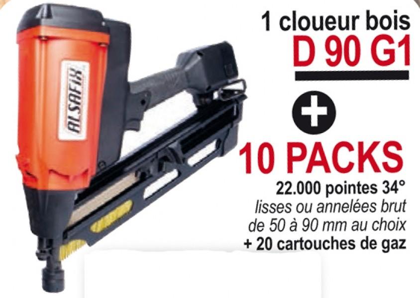 Photo 1 Lot composé d'un cloueur autonome à gaz D 90 G1 + 10 packs de pointes au choix 50 à 90 mm lisses ou annelées brut (soit 22.000 pointes) + 20 cartouches de gaz. Cloueur livré avec 2 batteries et 1 chargeur, dans un coffret. Idéal pour les charpentiers, les coffrages ou le bardage avec l'embout adéquat. - ALSAFIX