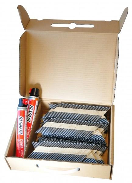 Photo 4 Lot composé d'un cloueur autonome à gaz D 90 G1 + 10 packs de pointes au choix 50 à 90 mm lisses ou annelées brut (soit 22.000 pointes) + 20 cartouches de gaz. Cloueur livré avec 2 batteries et 1 chargeur, dans un coffret. Idéal pour les charpentiers, les coffrages ou le bardage avec l'embout adéquat. - ALSAFIX