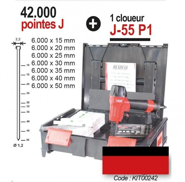 Photo 1 Le kit comprend un cloueur pneumatique J-55 P1 et 42.000 pointes J de 15 à 50 mm. Le cloueur J-55 P1 est idéal pour les petit travaux de menuiserie, la fixation de lambris, plinthes ou moulures. Il peut également s'utiliser avec des pointes sans tête. Il dispose d'une sécurité sur le nez, et d'un système anti coup à vide. - ALSAFIX