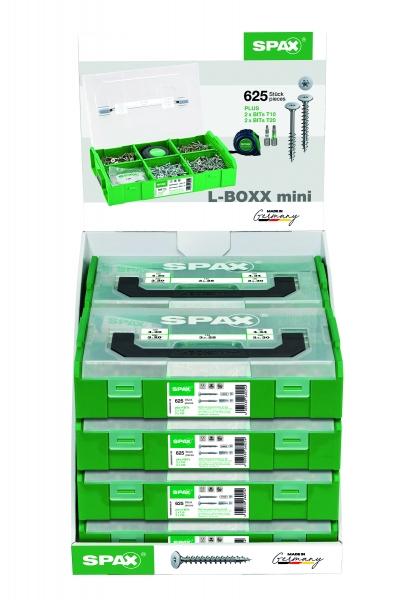 Photo 2 Cette Mini L-Boxx rassemble 625 vis pour le montage des meubles ainsi que 4 embouts (2 T20 + 2 T10 ) et 1mètre mesureur. Détail du coffret : - Fixation des fonds de meubles - SPAX filetage total - Tête extra plate -T Star + : - 3x20 - 300vis - 3,5x25 - 300vis - 3,5x30 - 300 vis - Assemblage des meubles - SPAX filetage partiel - Tête extra plate -T Star + : - 4x30 - 200 vis - 4x34 - 200 vis Cette mallette est vendue en box présentoir de 8 Mini L-Boxx. Fabrication Allemande - SPAX