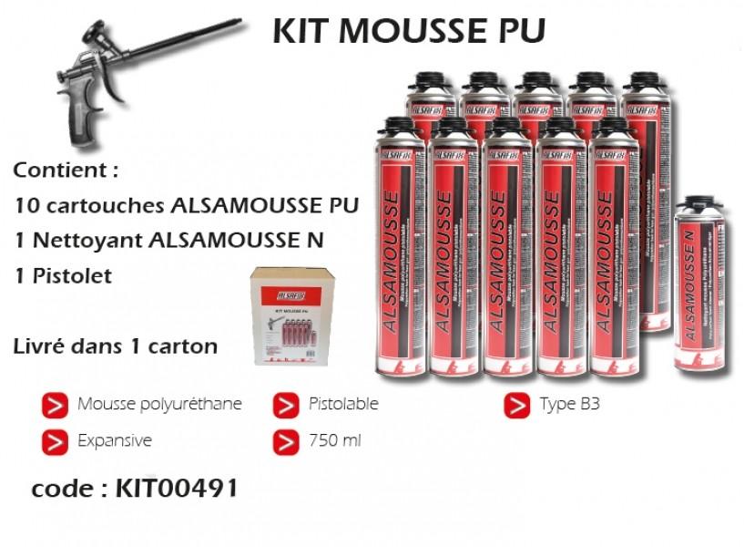 Photo 1 Le kit est composé de 10 cartouches d'ALSAMOUSSE 750 ml pour pistolet, 1 nettoyant ALSAMOUSSE N et 1 pistolet d'injection spécialement conçu pour la mousse PU - ALSAFIX