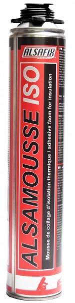 Photo 2 Kit composé de 10 cartouches de mousse PU ISO 800 ml pour l'adhésion de panneaux d'isolation extérieure sur matériaux de construction (béton, brique, bois, métal), 1 pistolet d'injection et d'1 nettoyant. - ALSAFIX