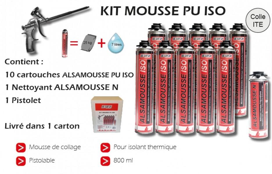 Photo 1 Kit composé de 10 cartouches de mousse PU ISO 800 ml pour l'adhésion de panneaux d'isolation extérieure sur matériaux de construction (béton, brique, bois, métal), 1 pistolet d'injection et d'1 nettoyant. - ALSAFIX