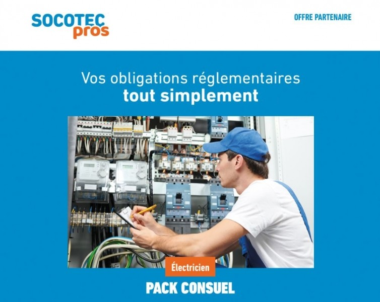 Photo 1 Vous êtes installateur?  Le groupe SOCOTEC vous propose la vérification des installations électriques que vous réalisez, pour obtenir la mise sous tension dans le cadre de la démarche CONSUEL. pour vous permettre la mise sous tension par le distributeur d'énergie de l'installation. - SOCOTEC
