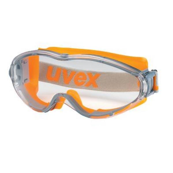 Photo 1 Les lunettes-masques de protection uvex ultrasonic au look sport sont compactes tout en préservant un champ de vision panoramique. Elles peuvent également être portées par-dessus des lunettes de vue.  L'association de composants souples et rigides assurent un bon maintien, sans créer de pression sur le visage, et reste parfaitement hermétique pour protéger les yeux des intrusions de liquides et de poussières. L'écran en polycarbonate résistant offre une excellente protection contre les impacts. - uvex