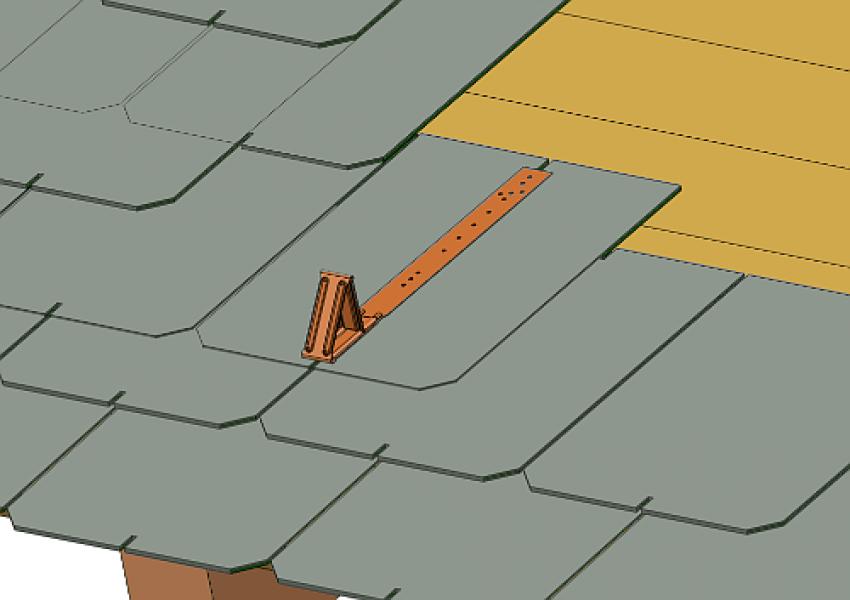 Photo 2 Protection contre les glissements de masse neigeuse. En acier galvanisé - stable aux intempéries. Disponible pour différents types de revêtements de toiture et dans plusieurs coloris. - MAGE FRANCE