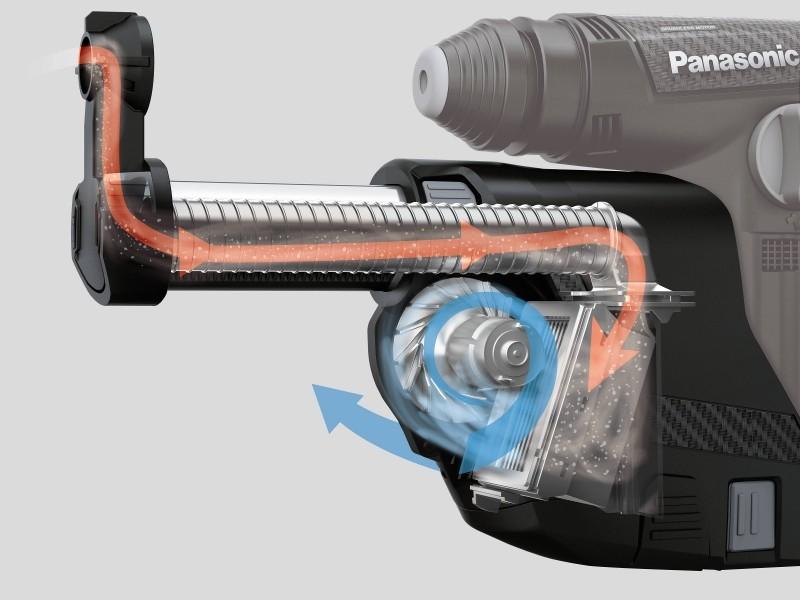 Photo 3 Marteau perforateur multi-fonctions avec aspirateur sans fil intégré ! Compact, léger et puissant, il laissera votre chantier propre derrière lui ! Puissance de 1,4 à 3,3 Joules pour 3.9 kg. Mandrin SDS+ Livré avec 2 batteries  de 28.8 V - 3.4 Ah Chargée à 80% en 60 minutes. Mode perforateur avec sans percussion / vissage Jusqu'à 120 trous 12.5 x 40mm avec une batterie chargée. Aspiration de 250 l/min - réservoir de 270 ml avec filtre longue durée. - ALSAFIX