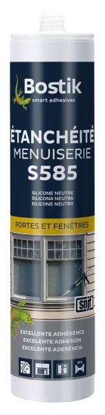 Photo 1 Mastic silicone alcoxy neutre destiné à la réalisation de joints d'étanchéité, de calfeutrement, de dilatation à élasticité durable sur la plupart des supports utilisés dans le bâtiment et tout particulièrement recommandé pour les cadres de portes et fenêtres. Labels SNJF Façade F25E. - Bostik