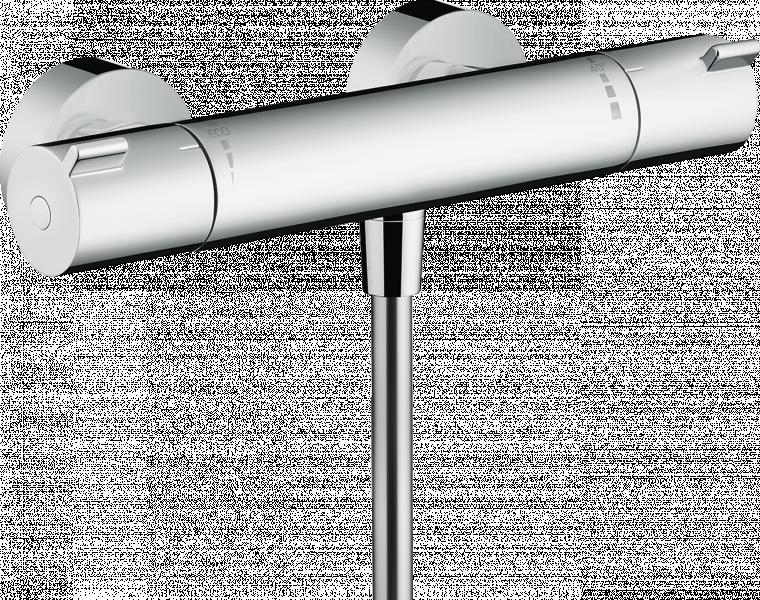 Photo 1 - cartouche thermostatique, mécanisme céramique 180° - butée confort 40°C - limiteur température réglable - Débit du raccordement de la douchette sous 3 bar: 17l/min - Ecostop: 10l/min - clapet anti-retour - poignées métal - entraxe: 150mm ± 12mm - raccords S - HANSGROHE
