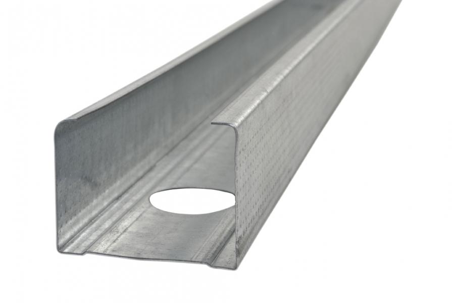 Photo 1 Profilé métallique de 48 mm pour la réalisation de cloison distributive ou séparative avec aile de recouvrement de 34-36 mm et percements pour passage des gaines. - SPP-PAI