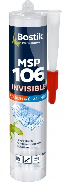Photo 1 Mastic à base de MS polymères parfaitement transparent, pour le collage et l'étanchéité de la plupart des matériaux de construction. - Bostik